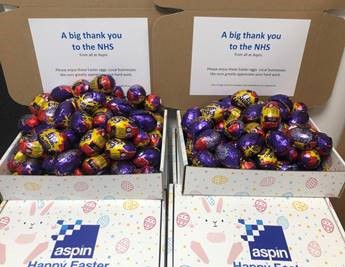 BHETA Support Provider, Aspin, delivers Easter treats to the NHS