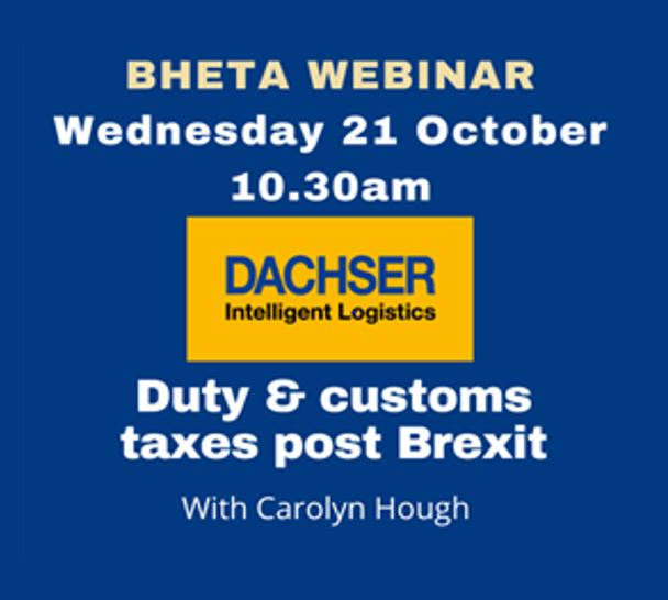 BHETA Webinar – Duty and customs taxes post Brexit