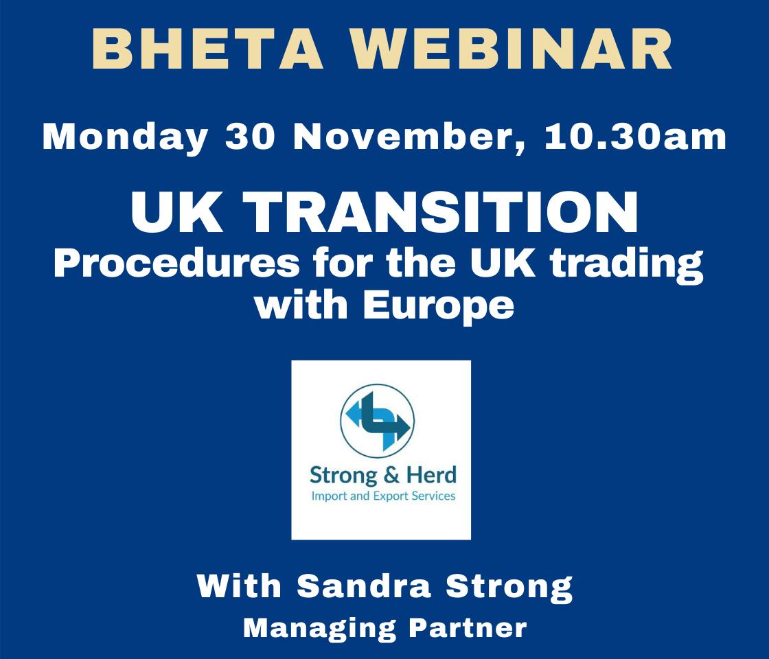 BHETA Webinar – Procedures for the UK trading with Europe
