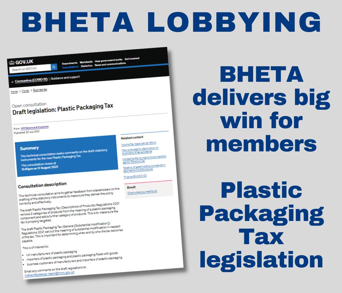 BHETA lobbying delivers Plastic Tax win for members